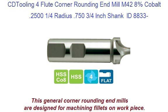 .2500 1/4 Radius .500 or .750 3/4 Inch Shank 4 Flute Corner Rounding End Mill M42 Cobalt ID 8833-