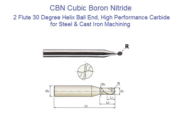 CBN Cubic Boron Nitride 2 Flute Ball Nose End Mills  0.4 to 3.0 mm