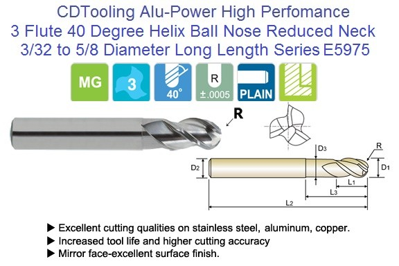 3 Flute Alu-Power 40 Degree Helix Ball Nose Extended Reach Reduced Neck End Mills E5975 3/32 TO 5/8