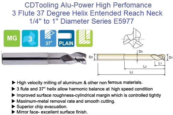3 Flute Alu-Power Carbide End Mill 37 Degree High Helix Extended Neck Long Length E5977 1/4 -1