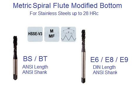 Spiral Flute Tap Metric Modified Bottom ANSI DIN Stainless HRc to 28
