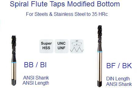 Sprial Fluted Tap - 2 - 56 UNC H2 - 2 Flute -  MODIFIED BOTTOM SUPER HSS - STEAM OXIDE - ID: 1147-BB082