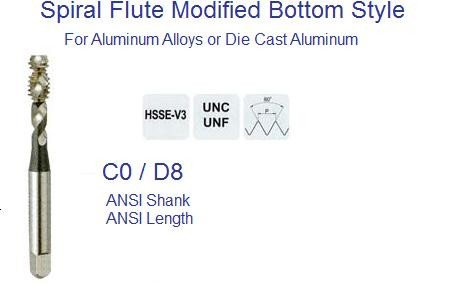 Spiral Flute Modified Bottom Tap ANSI for Aluminum Alloys and Die Cast Aluminum