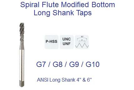 Spiral Flute Taps Modified Bottoming ANSI Long Shank UNC UNF