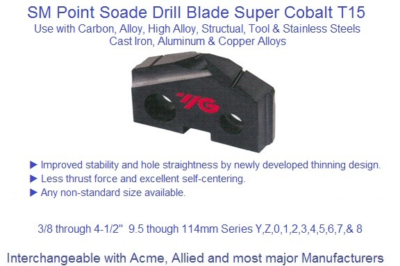 Spade Drill Blades T15 Spade Drill Blade SM Point, Series, Y, Z, 0, 1, 2, 3,4,5,6,7,8 3/8 to 4-1/2