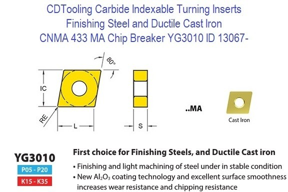 CNMA 433, MA Chip Breaker, Grade YG3010, Carbide Insert for Finishing Steels, Ductile Cast Iron - 10 Pack ID 13067-