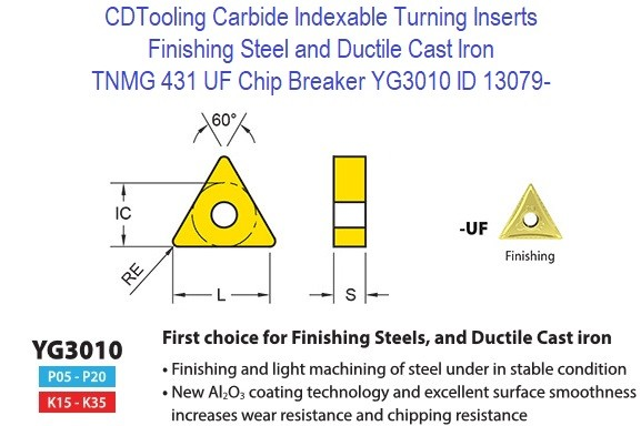 TNMG 431, UF Chip Breaker, Grade YG3010, Carbide Insert for Finishing Steels, Ductile Cast Iron - 10 Pack ID 13079-