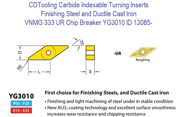 VNMG 333, UR Chip Breaker, Grade YG3010, Carbide Insert for Finishing Steels, Ductile Cast Iron - 10 Pack ID 13085-