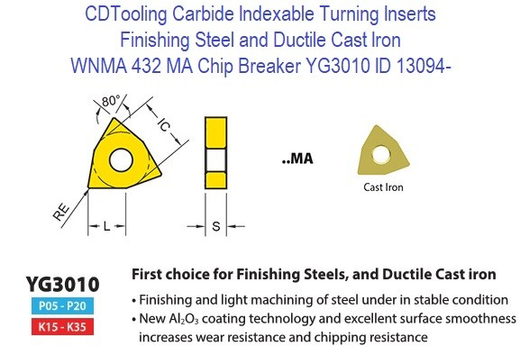 WNMA 432, MA Chip Breaker, Grade YG3010, Carbide Insert for Finishing Steels, Ductile Cast Iron - 10 Pack ID 13094-