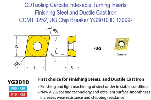 CCMT 3252, UG Chip Breaker, Grade YG3010, Carbide Insert for Finishing Steels, Ductile Cast Iron - 10 Pack ID 13099-