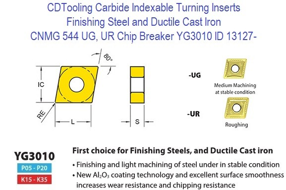 CNMG 544, UG, UR Chip Breaker, Grade YG3010, Carbide Insert for Finishing Steels, Ductile Cast Iron - 10 Pack ID 13127-