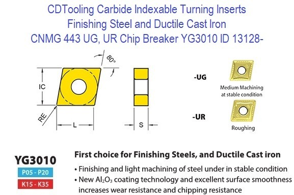 CNMG 443, UG, UR Chip Breaker, Grade YG3010, Carbide Insert for Finishing Steels, Ductile Cast Iron - 10 Pack ID 13128-