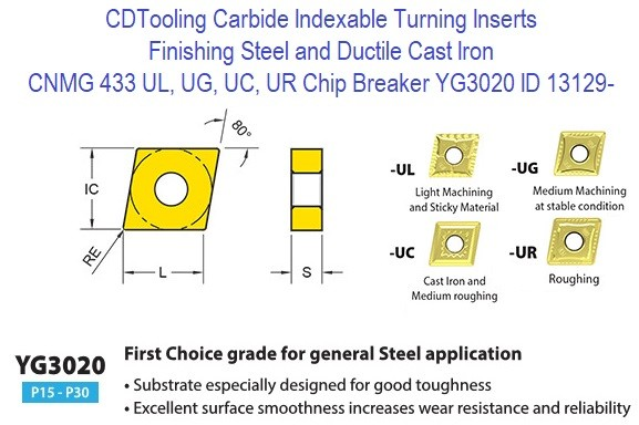 CNMG 433, UL, UG, UC, UR Chip Breaker, Grade YG3020, Carbide Insert for Finishing Steels, Ductile Cast Iron - 10 Pack ID 13129-