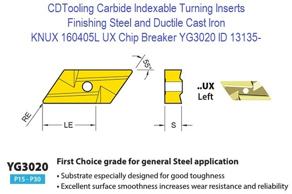 KNUX 160405L, UX Chip Breaker, Grade YG3020, Carbide Insert for Finishing Steels, Ductile Cast Iron - 10 Pack ID 13135-