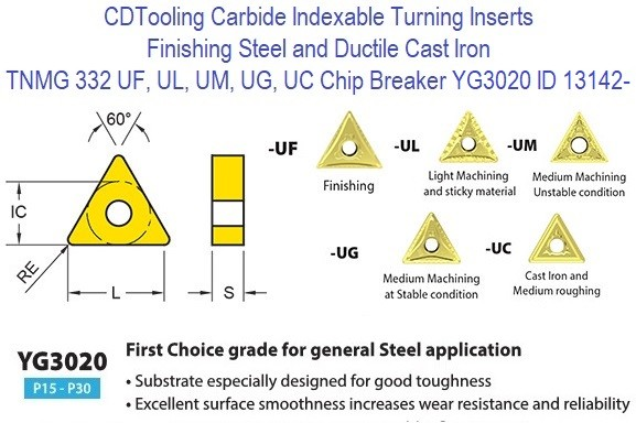 TNMG 332, UF, UL, UM, UG, UC Chip Breaker, Grade YG3020, Carbide Insert for Finishing Steels, Ductile Cast Iron - 10 Pack ID 13142-