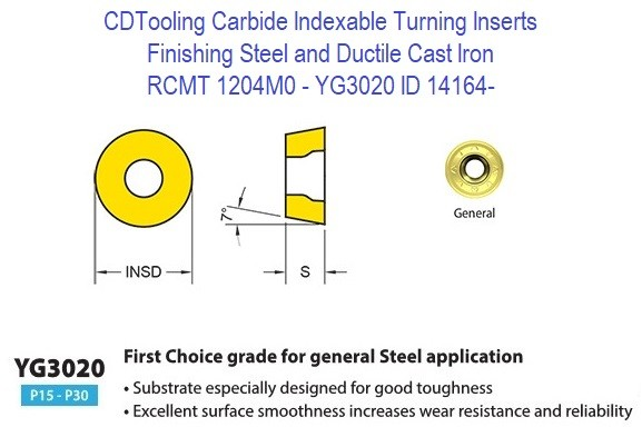 RCMT 1204M0, Grade YG3020, Carbide Insert for Finishing Steels, Ductile Cast Iron - 10 Pack ID 14164-