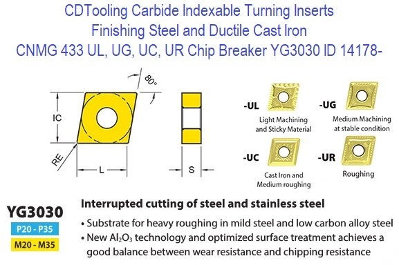 CNMG 433, UL, UG, UC, UR Chip Breaker, Grade YG3030, Carbide Insert for Finishing Steels, Ductile Cast Iron - 10 Pack ID 14178-