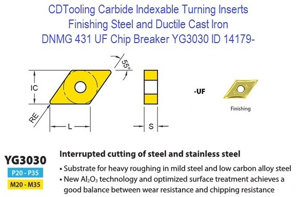 DNMG 431, UF Chip Breaker, Grade YG3030, Carbide Insert for Finishing Steels, Ductile Cast Iron - 10 Pack ID 14179-
