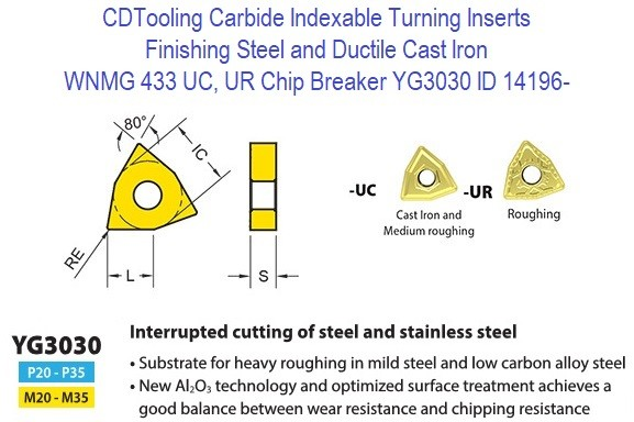 WNMG 433, UC, UR Chip Breaker, Grade YG3030, Carbide Insert for Finishing Steels, Ductile Cast Iron - 10 Pack ID 14196-