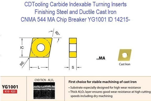 CNMA 544, MA Chip Breaker, Grade YG1001, Carbide Insert for Finishing Steels, Ductile Cast Iron - 10 Pack ID 14215-