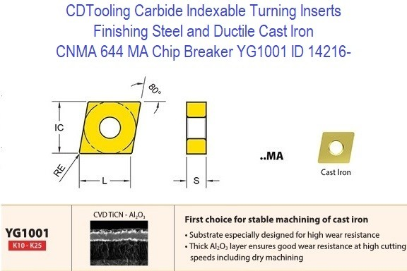 CNMA 644, MA Chip Breaker, Grade YG1001, Carbide Insert for Finishing Steels, Ductile Cast Iron - 10 Pack ID 14216-