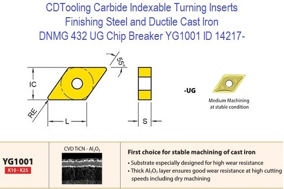 DNMG 432, UG Chip Breaker, Grade YG1001, Carbide Insert for Finishing Steels, Ductile Cast Iron - 10 Pack ID 14217-