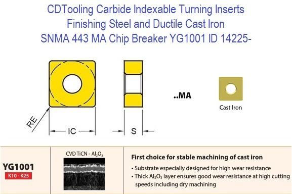 SNMA 433, MA Chip Breaker, Grade YG1001, Carbide Insert for Finishing Steels, Ductile Cast Iron - 10 Pack ID 14225-
