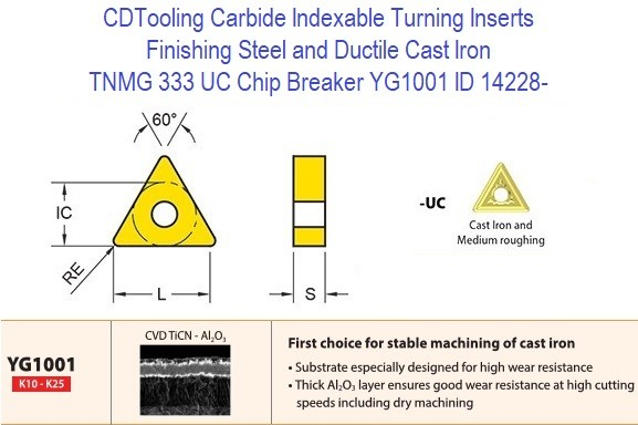 TNMG 333 UC Chip Breaker, Grade YG1001, Carbide Insert for Finishing Steels, Ductile Cast Iron - 10 Pack ID 14228-