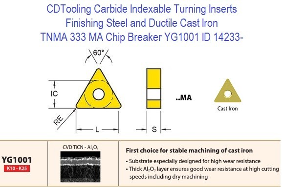 TNMA 333, MA Chip Breaker, Grade YG1001, Carbide Insert for Finishing Steels, Ductile Cast Iron - 10 Pack ID 14233-
