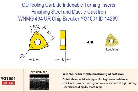 WNMG 434, UR Chip Breaker, Grade YG1001, Carbide Insert for Finishing Steels, Ductile Cast Iron - 10 Pack ID 14239-
