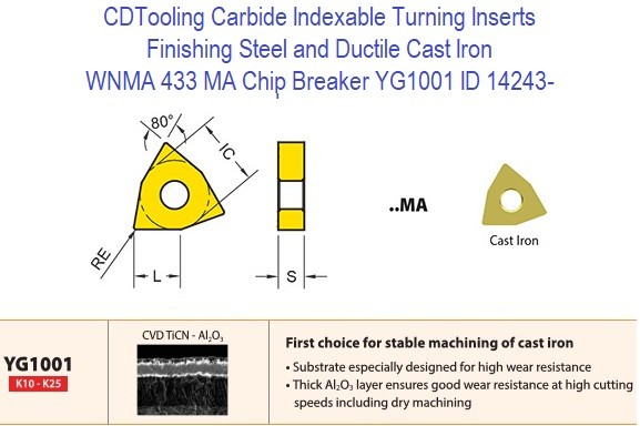 WNMA 433, MA Chip Breaker, Grade YG1001, Carbide Insert for Finishing Steels, Ductile Cast Iron - 10 Pack ID 14243-