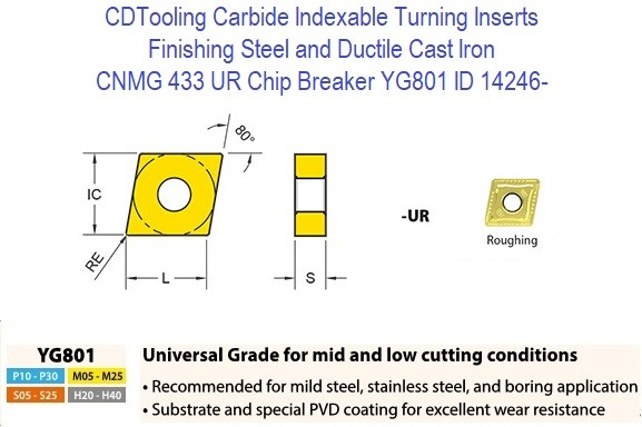 CNMG 433, UR Chip Breaker, Grade YG801, Carbide Insert for Finishing Steels, Ductile Cast Iron - 10 Pack ID 14246-