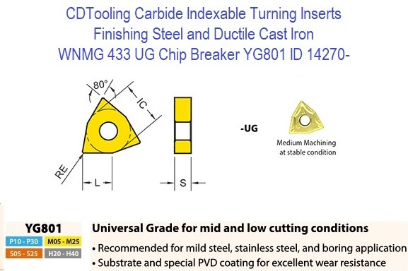 WNMG 433, UG Chip Breaker, Grade YG801, Carbide Insert for Finishing Steels, Ductile Cast Iron - 10 Pack ID 14270-