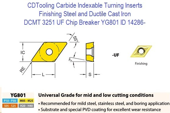 DCMT 3251, UF Chip Breaker, Grade YG801, Carbide Insert for Finishing Steels, Ductile Cast Iron - 10 Pack ID 14286-