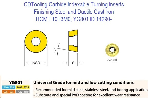 RCMT 10T3M0, Grade YG801, Carbide Insert for Finishing Steels, Ductile Cast Iron - 10 Pack ID 14290-
