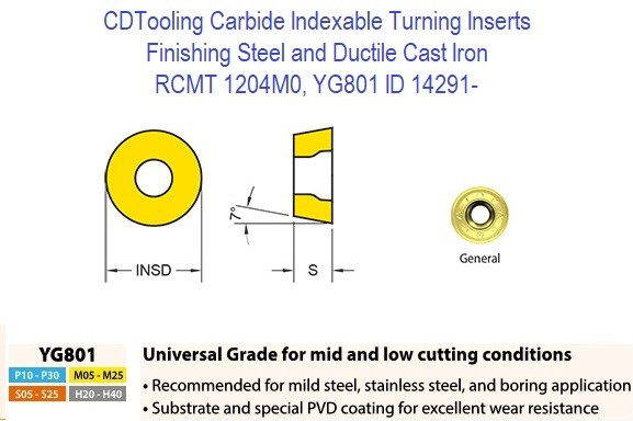 RCMT 1204M0, Grade YG801, Carbide Insert for Finishing Steels, Ductile Cast Iron - 10 Pack ID 14291-