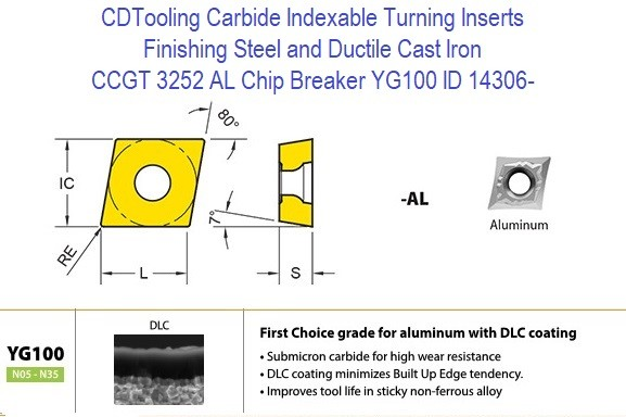 CCGT 3252 AL Chip Breaker, Grade YG100, Carbide Insert for Finishing Steels, Ductile Cast Iron - 10 Pack ID 14306-