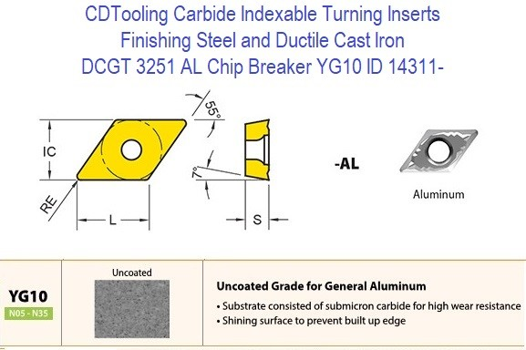 DCGT 3251 AL Chip Breaker, Grade YG10, Carbide Insert for Finishing Steels, Ductile Cast Iron - 10 Pack ID 14311-