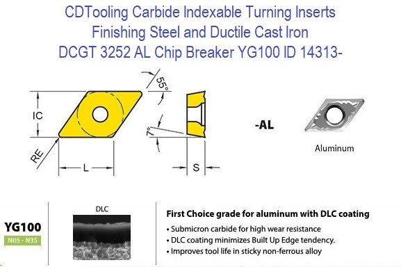 DCGT 3252 AL Chip Breaker, Grade YG100, Carbide Insert for Finishing Steels, Ductile Cast Iron - 10 Pack ID 14313-