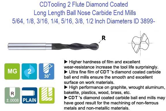 2 Flute Diamond Coated Long Length Ball Nose Carbide End Mills 5/64, 1/8, 3/16, 1/4, 5/16, 3/8, 1/2 Inch Diameters ID 3899-