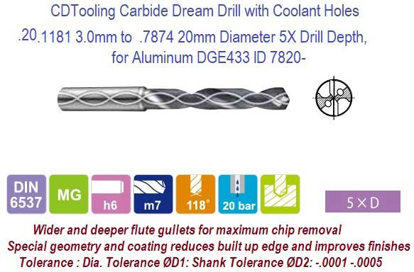 .1181 3.0mm to  .7874 20mm Diameter Carbide Dream Drills 5X Drill Depth, for Aluminum DLC Coated  DGE433 ID 7820-