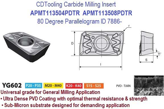 APMT113504PDTR, APMT113508PDTR Universal YG602 80 Degree Parallelogram Indexable Carbide Insert 10 Pack ID 7886-