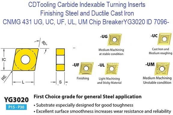 CNMG 431 120404 UC, UF, UG, UL, UM Chip Breaker, Grade YG3020, Carbide Insert 1rst Choice for General Steel Cutting 10 Pack ID 7996-