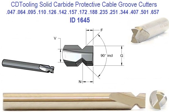 45 per Side 90 Included 45 Degree from End Dovetail Cutters Carbide for Protective Cable Grooves Stock or Specials ID 1645-