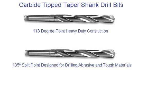 Carbide Tipped Taper Shank Drill Bits 118 and 135 Degree Point Type 2630,2631