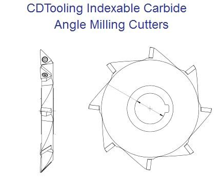 Indexable Carbide Angle Milling Cutters c/w Arbor Hole