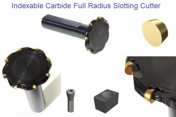 Indexable Carbide Insert Full Radius Slotting Cutters 1-3 inch Diameter 1/8-3/8 Width ID 1103-