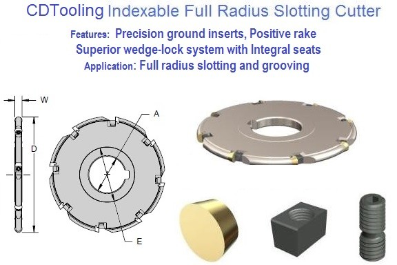 Indexable Carbide Full Radius Slotting Mill 3 to 6 inch Diameter, 1/8 to 3/8 Width ID 1105-