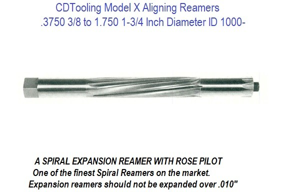 .3750 3/8 to 1.7500 1-3/4 Inch Diameter Model X Aligning Reamers ID 1000-