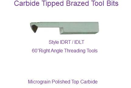 Carbide Tipped Right Angle 60 Degree Treading Tool IDRT IDLT 60 61 80 81